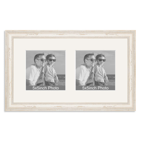 White Shabby Chic Wooden Multi Aperture Frame for two 5x5in photos
