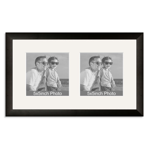 Black Wooden Multi Aperture Frame for two 5x5in photos