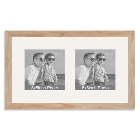 Solid Oak Multi Aperture Frame for two 5x5in photos