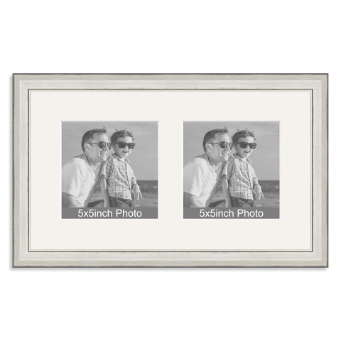 Silver Wooden Multi Aperture Frame for two 5x5in photos