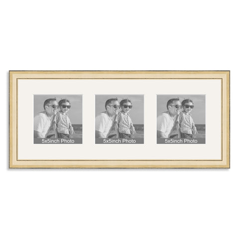 Gold wooden Multi Aperture Frame for three 5x5in photos
