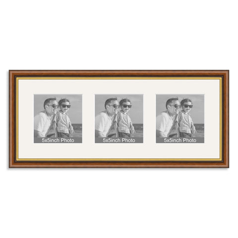 Mahogany & Gold wooden Multi Aperture Frame for three 5x5in photos