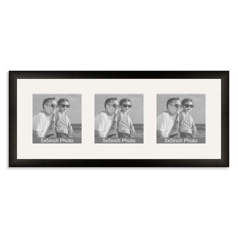 Black Wooden Multi Aperture Frame for three 5x5in photos