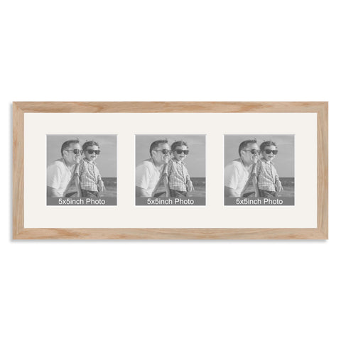 Solid Oak Multi Aperture Frame for three 5x5in photos