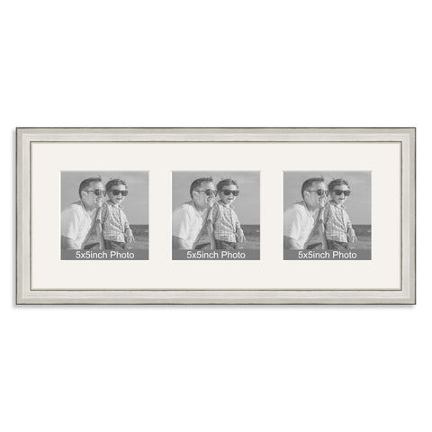 Silver wooden Multi Aperture Frame for three 5x5in photos
