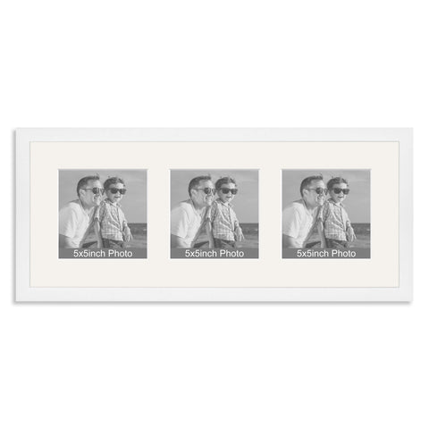 White Wooden Multi Aperture Frame for three 5x5in photos