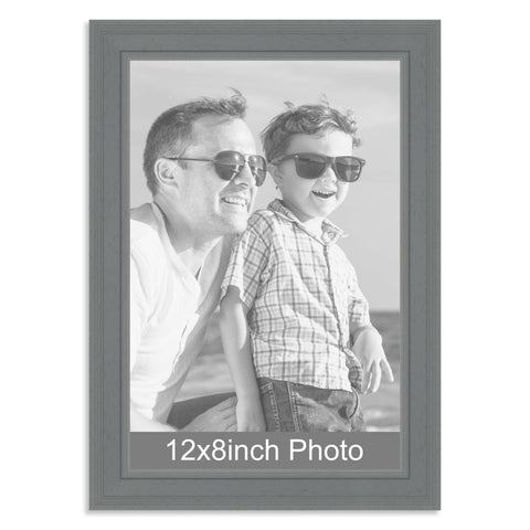 12 x 8inch Grey Wooden Photo Frame for a 12x8/8x12in photo