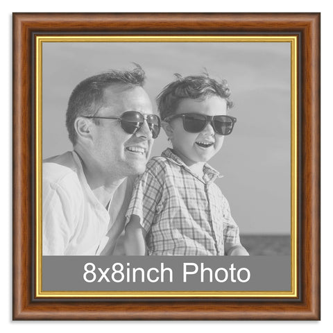 Mahogany and Gold Wooden Photo Frame for a 8x8in Photo