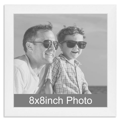 White Wooden Photo Frame for a 8x8in Photo