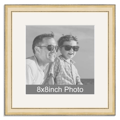 Gold Wooden Photo Frame with mount for a 8x8in Photo