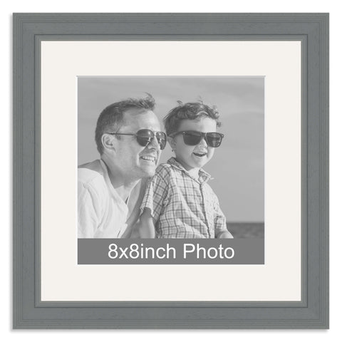 Grey Wooden Photo Frame with mount for a 8x8in Photo