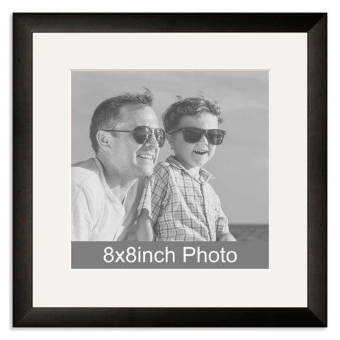 Black Wooden Photo Frame with mount for a 8x8in Photo