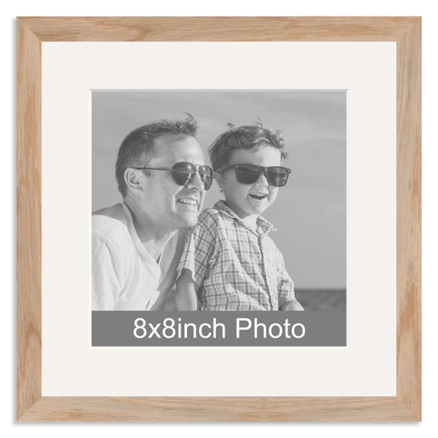 Solid Oak Wooden Photo Frame with mount for a 8x8in Photo