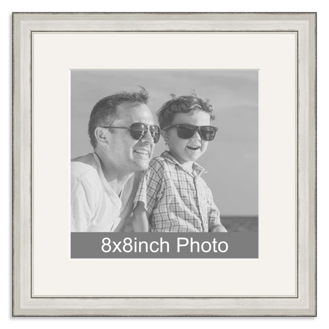 Silver Wooden Photo Frame with mount for a 8x8in Photo
