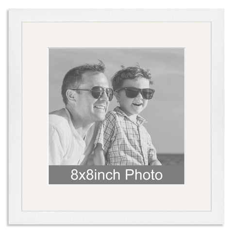White Wooden Photo Frame with mount for a 8x8in Photo