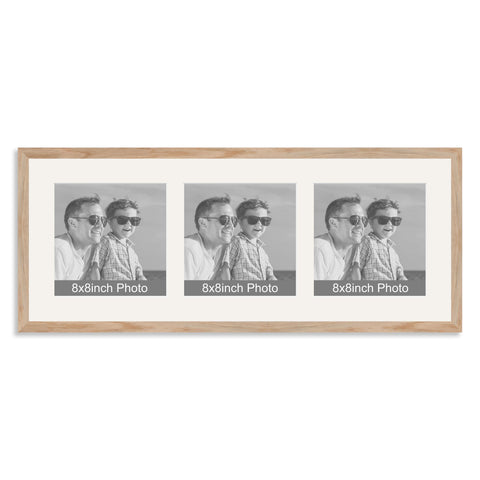 Solid Oak Multi Aperture Photo Frame for three 8x8in Photos