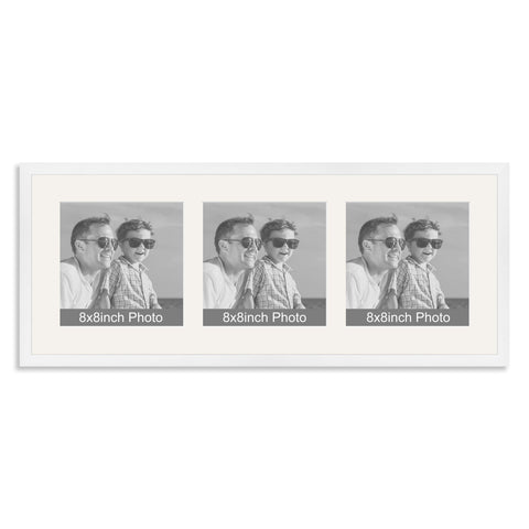 White Wooden Multi Aperture Photo Frame for three 8x8in Photos
