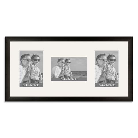 Black Wooden Multi Aperture Photo Frame for Three 6x4/4x6in Photos