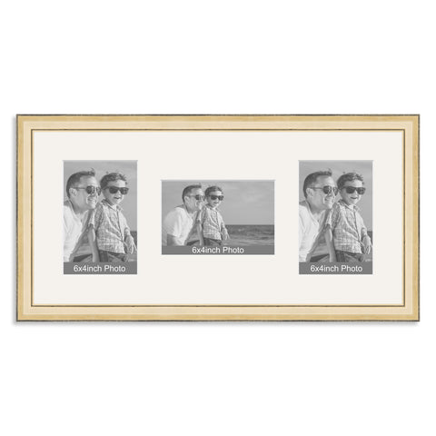 Gold Wooden Multi Aperture Photo Frame for three 6x4/4x6in Photos