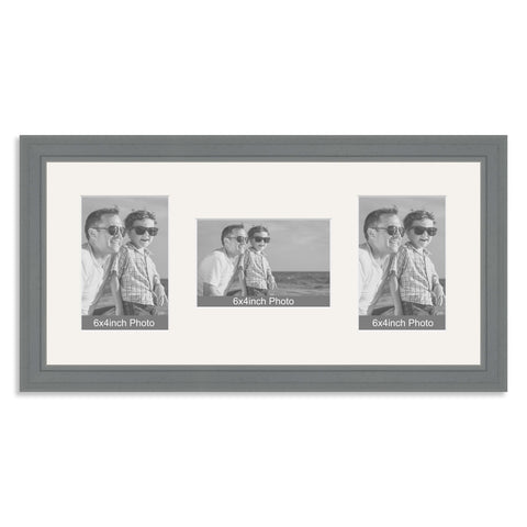 Grey Wooden Multi Aperture Photo Frame for three 6x4/4x6in Photos