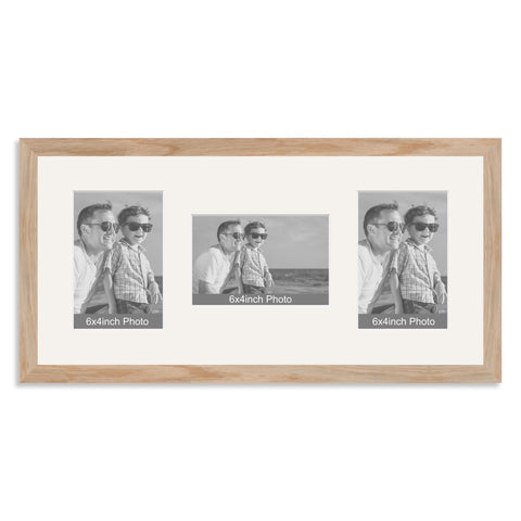 Solid Oak Multi Aperture Photo Frame for three 6x4/4x6in Photos