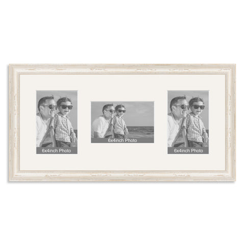 White Shabby Chic Wooden Multi Aperture Photo Frame for three 6x4/4x6in Photos
