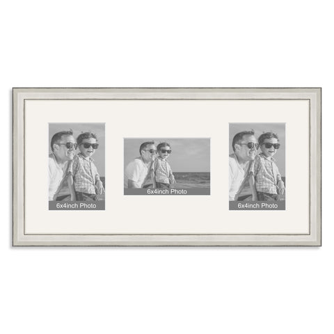 Silver Wooden Multi Aperture Photo Frame for three 6x4/4x6in Photos