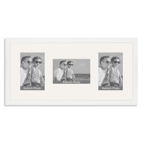 White Wooden Multi Aperture Photo Frame for three 6x4/4x6in Photos