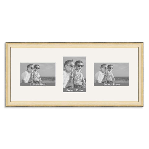 Gold Wooden Multi Aperture Photo Frame for Three 6x4/4x6in Photos (lpl)