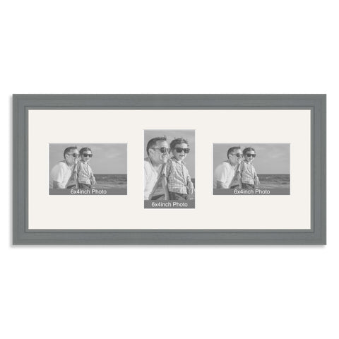 Grey Wooden Multi Aperture Photo Frame for Three 6x4/4x6in Photos (lpl)