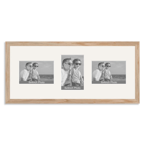 Solid Oak Multi Aperture Photo Frame for Three 6x4/4x6in Photos (lpl)
