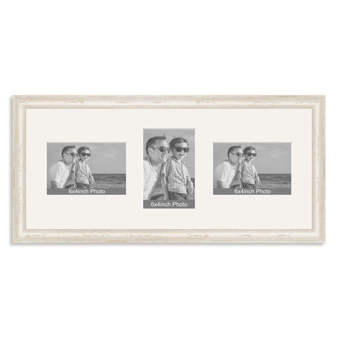 White Shabby Chic Wooden Multi Aperture Photo Frame for Three 6x4/4x6in Photos (lpl)