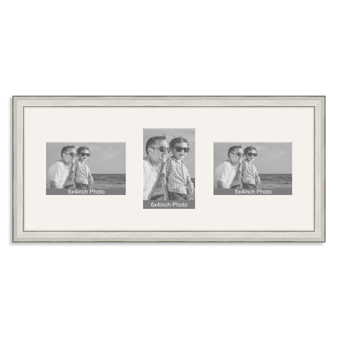 Silver Wooden Multi Aperture Photo Frame for Three 6x4/4x6in Photos (lpl)
