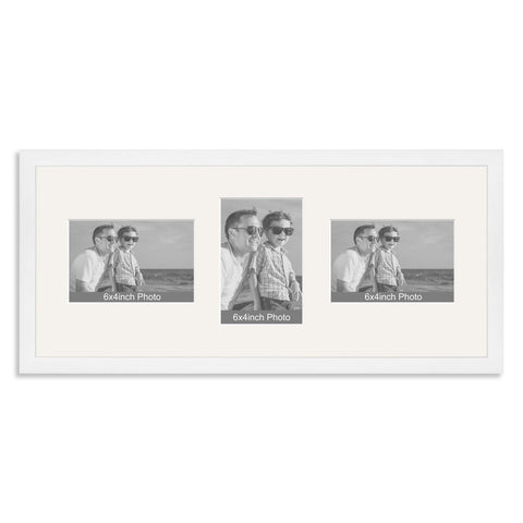 White Wooden Multi Aperture Photo Frame for Three 6x4/4x6in Photos (lpl)