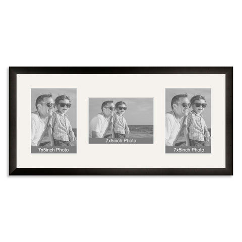 Black Wooden Multi Aperture Photo Frame for Three 7x5/5x7in Photos (plp)