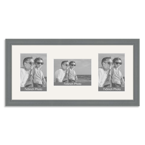 Grey Wooden Multi Aperture Photo Frame for Three 7x5/5x7in Photos (plp)