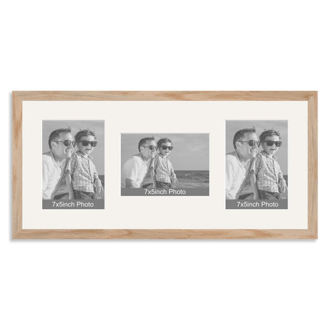 Solid Oak Multi Aperture Photo Frame for Three 7x5/5x7in Photos (plp)