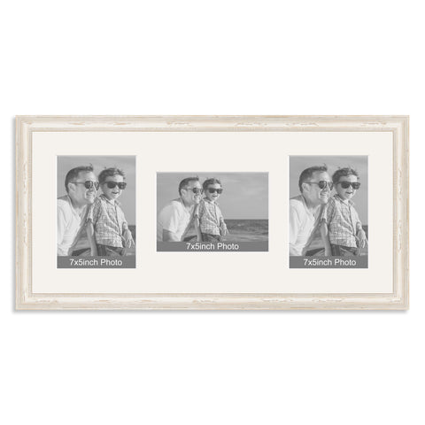 White Shabby Chic Wooden Multi Aperture Photo Frame for Three 7x5/5x7in Photos (plp)