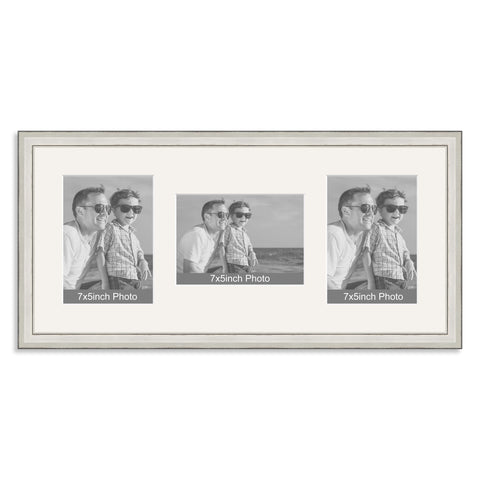 Silver Wooden Multi Aperture Photo Frame for Three 7x5/5x7in Photos (plp)