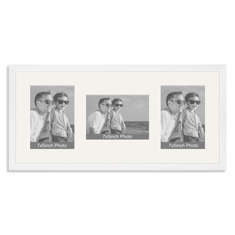 White Wooden Multi Aperture Photo Frame for Three 7x5/5x7in Photos (plp)