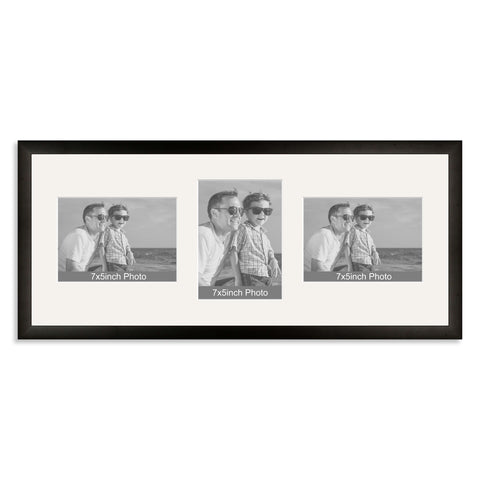 Black Wooden Multi Aperture Photo Frame for Three 7x5/5x7in Photos (lpl)