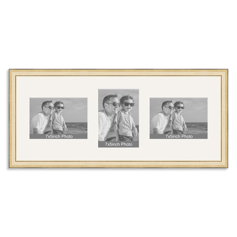 Gold Wooden Multi Aperture Photo Frame for Three 7x5/5x7in Photos (lpl)