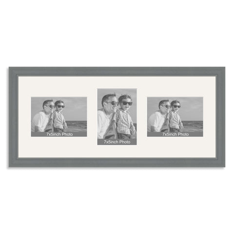 Grey Wooden Multi Aperture Photo Frame for Three 7x5/5x7in Photos (lpl)