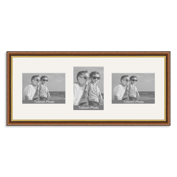 Mahogany And Gold Wooden Multi Aperture Photo Frame For