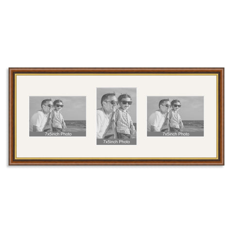 Mahogany and Gold Wooden Multi Aperture Photo Frame for Three 7x5/5x7in Photos (lpl)