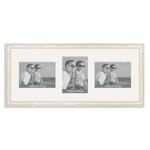 White Shabby Chic Wooden Multi Aperture Photo Frame for Three 7x5/5x7in Photos (lpl)