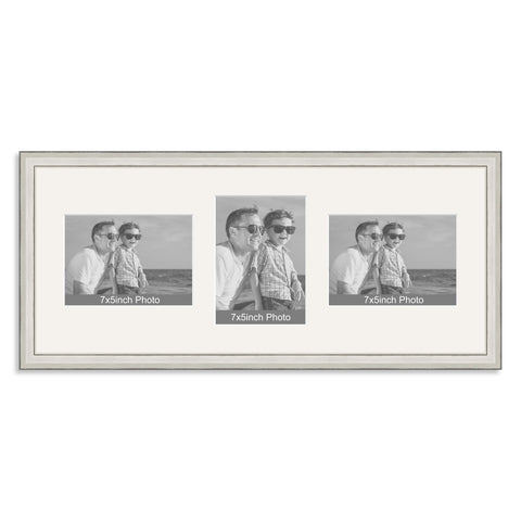 Silver Wooden Multi Aperture Photo Frame for Three 7x5/5x7in Photos (lpl)