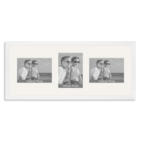 White Wooden Multi Aperture Photo Frame for Three 7x5/5x7in Photos (lpl)