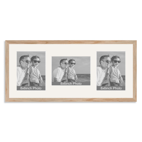 Solid Oak Multi Aperture Photo Frame for Three 8x6/6x8in Photos (plp)