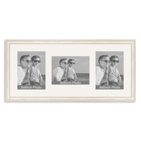 White Shabby Chic Wooden Multi Aperture Photo Frame for Three 8x6/6x8in Photos (plp)
